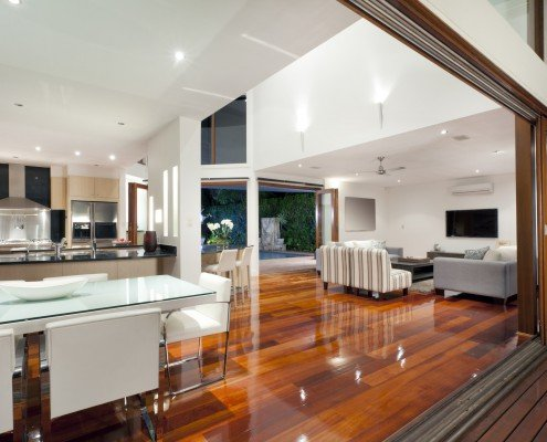 Modern home kitchen and living area